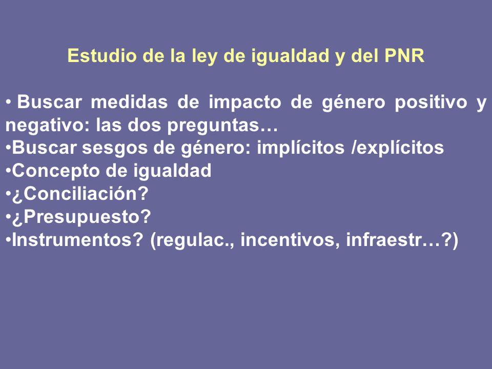 Estudio de la ley de igualdad y del PNR