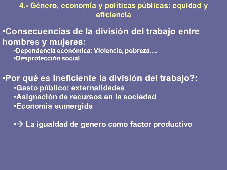 4.- Género, economía y políticas públicas: equidad y eficiencia