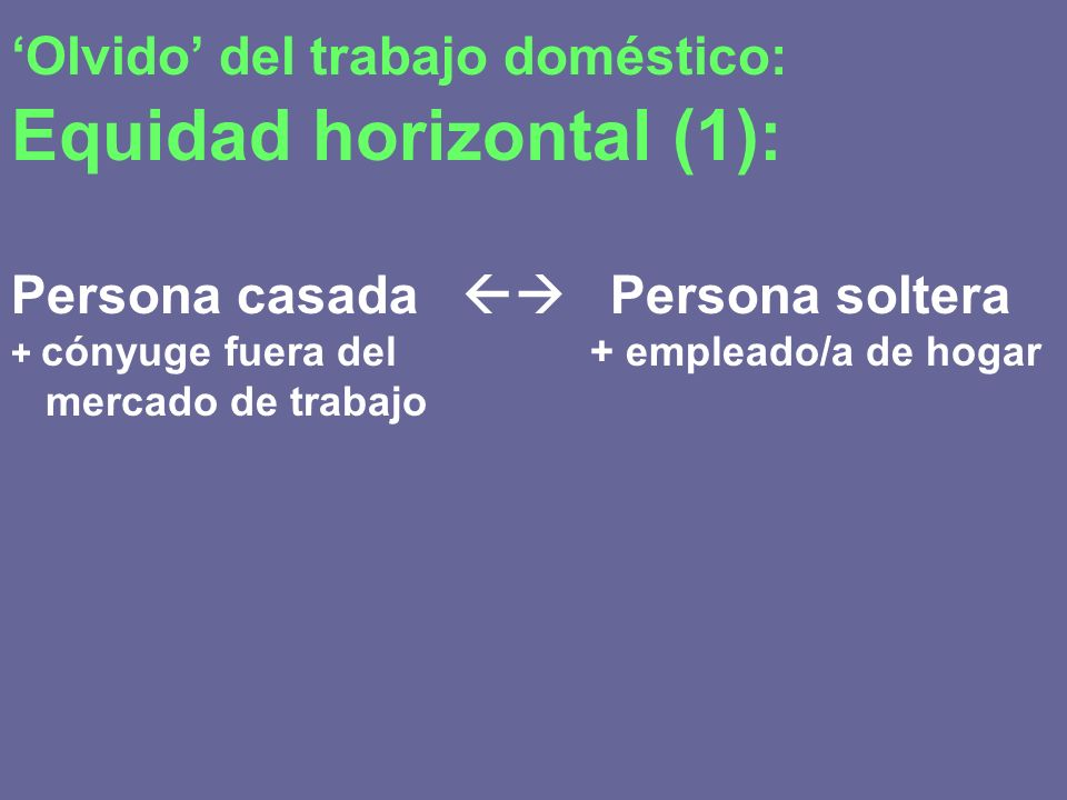 'Olvido' del trabajo doméstico: Equidad horizontal (1):