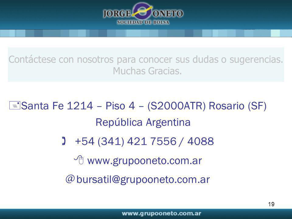 Santa Fe 1214 – Piso 4 – (S2000ATR) Rosario (SF) República Argentina