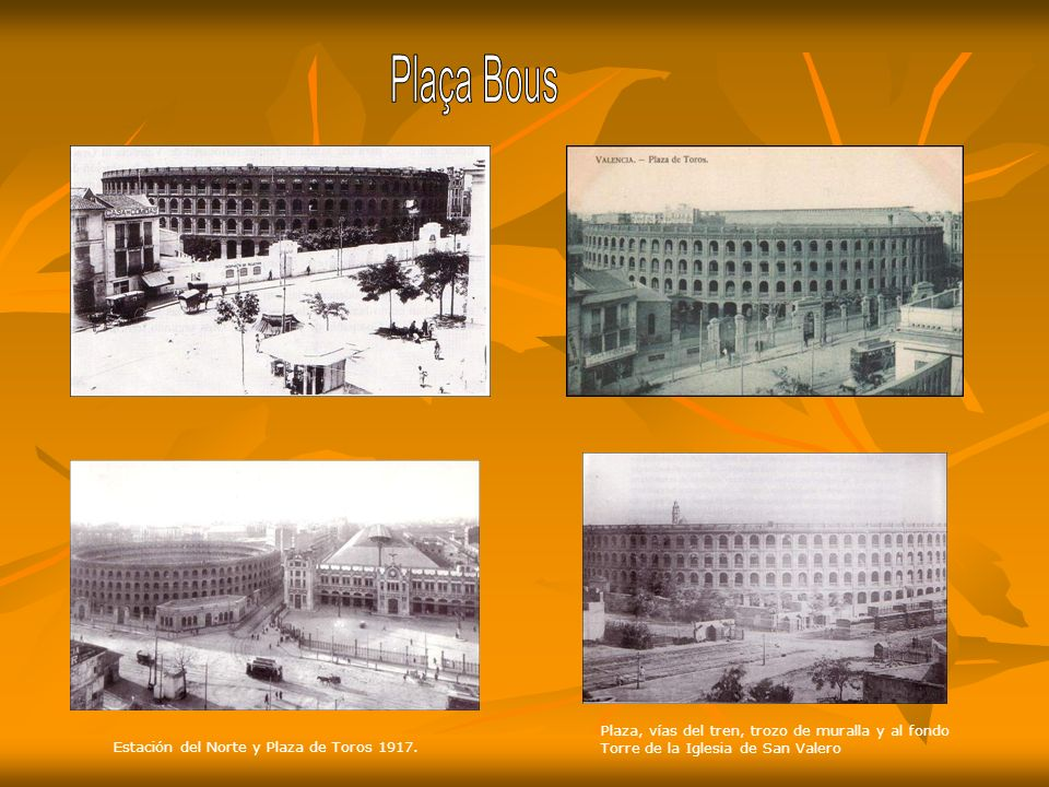 Plaça Bous Plaza, vías del tren, trozo de muralla y al fondo