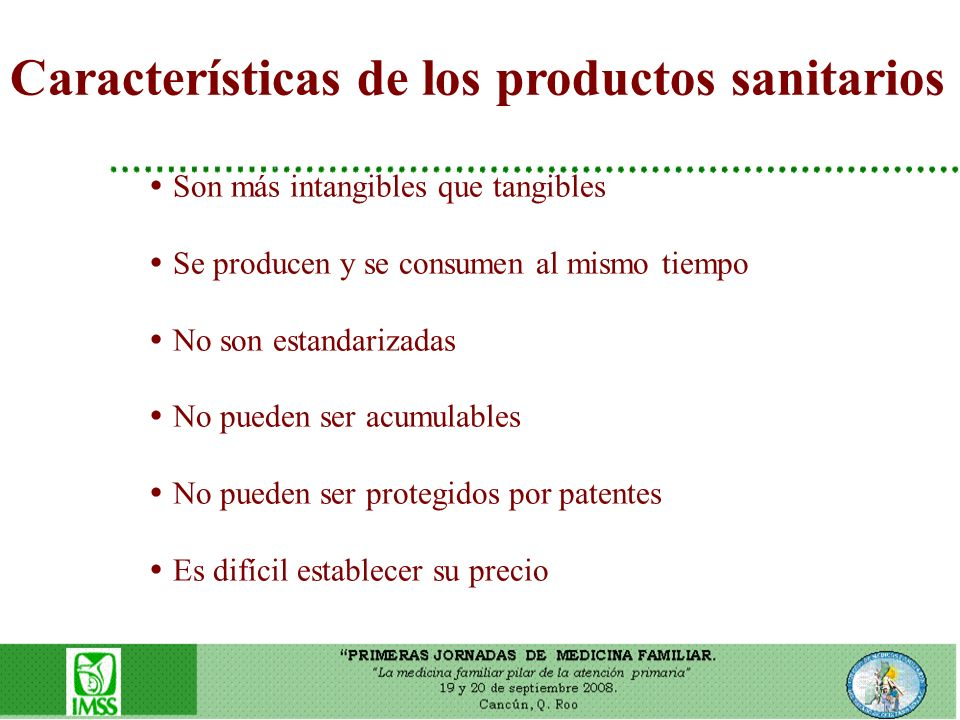 Características de los productos sanitarios