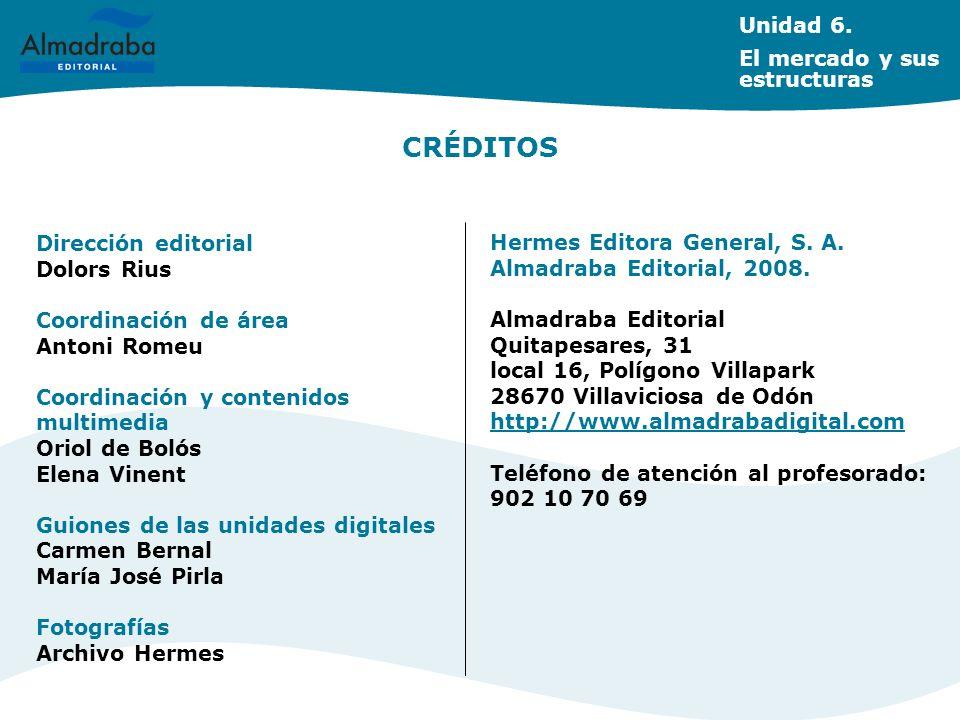 CRÉDITOS Unidad 6. El mercado y sus estructuras Dirección editorial