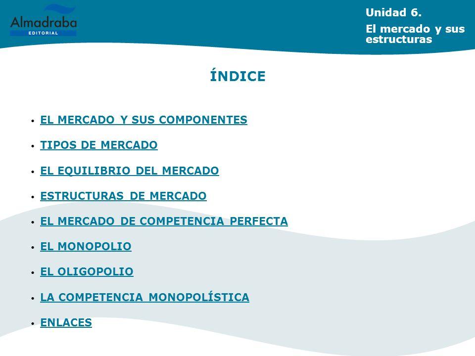 ÍNDICE Unidad 6. El mercado y sus estructuras