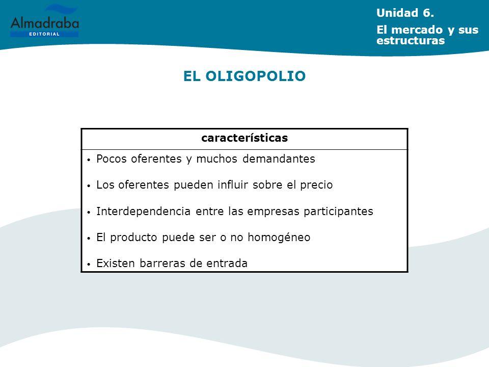 EL OLIGOPOLIO Unidad 6. El mercado y sus estructuras características