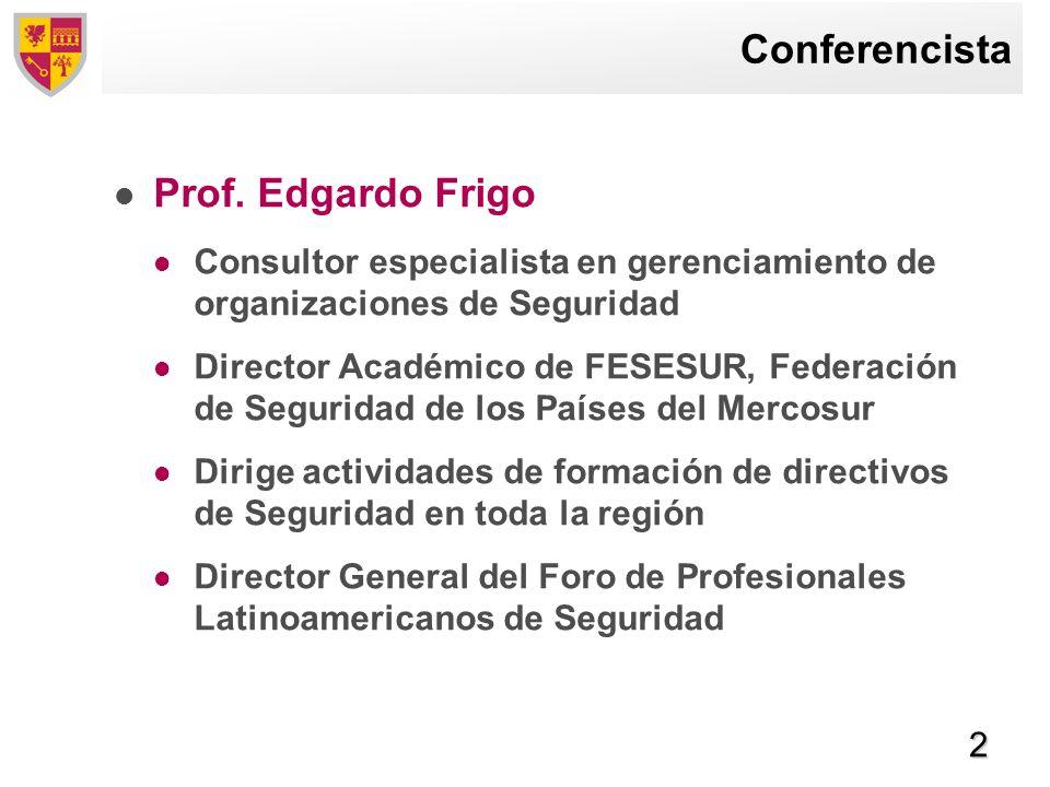 Conferencista Prof. Edgardo Frigo
