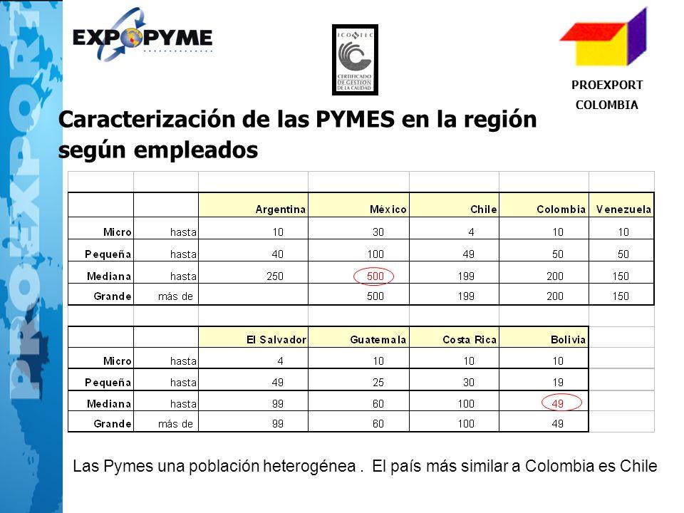 Caracterización de las PYMES en la región según empleados