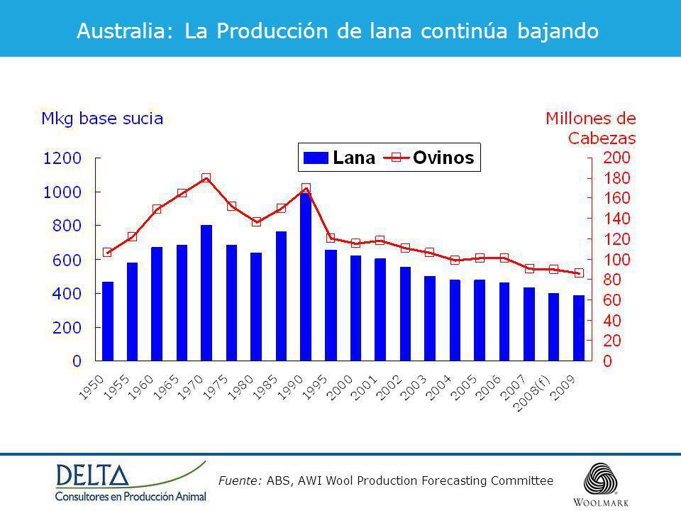 Australia: La Producción de lana continúa bajando