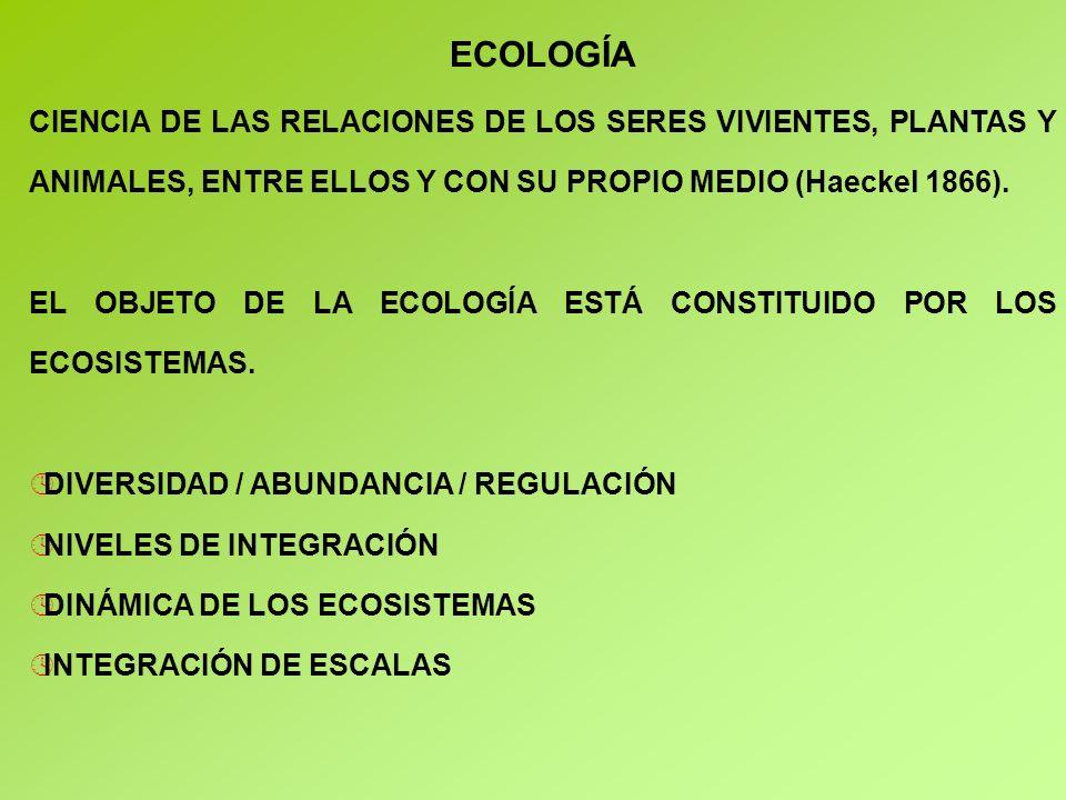 ECOLOGÍA CIENCIA DE LAS RELACIONES DE LOS SERES VIVIENTES, PLANTAS Y ANIMALES, ENTRE ELLOS Y CON SU PROPIO MEDIO (Haeckel 1866).
