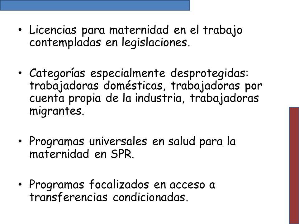 Licencias para maternidad en el trabajo contempladas en legislaciones.