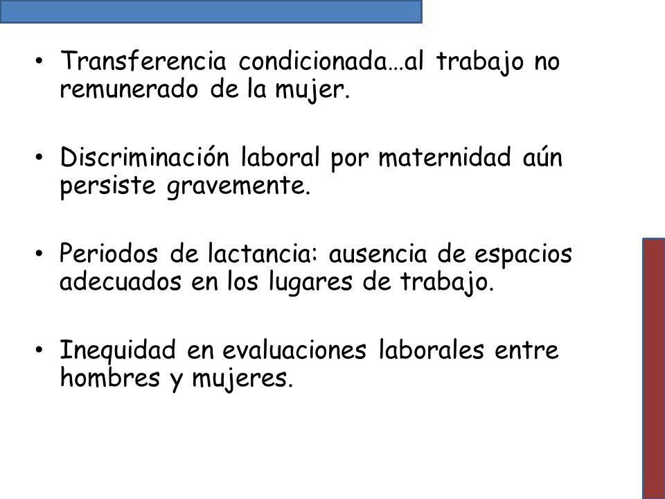 Transferencia condicionada…al trabajo no remunerado de la mujer.