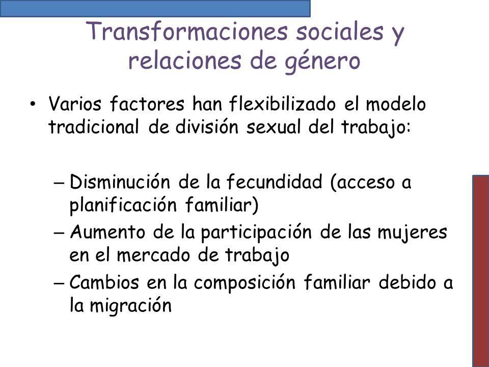 Transformaciones sociales y relaciones de género