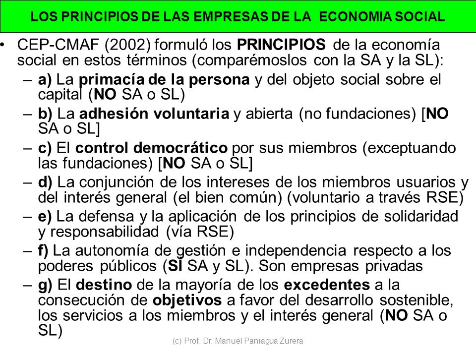 LOS PRINCIPIOS DE LAS EMPRESAS DE LA ECONOMIA SOCIAL