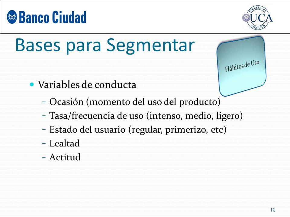 Bases para Segmentar Variables de conducta