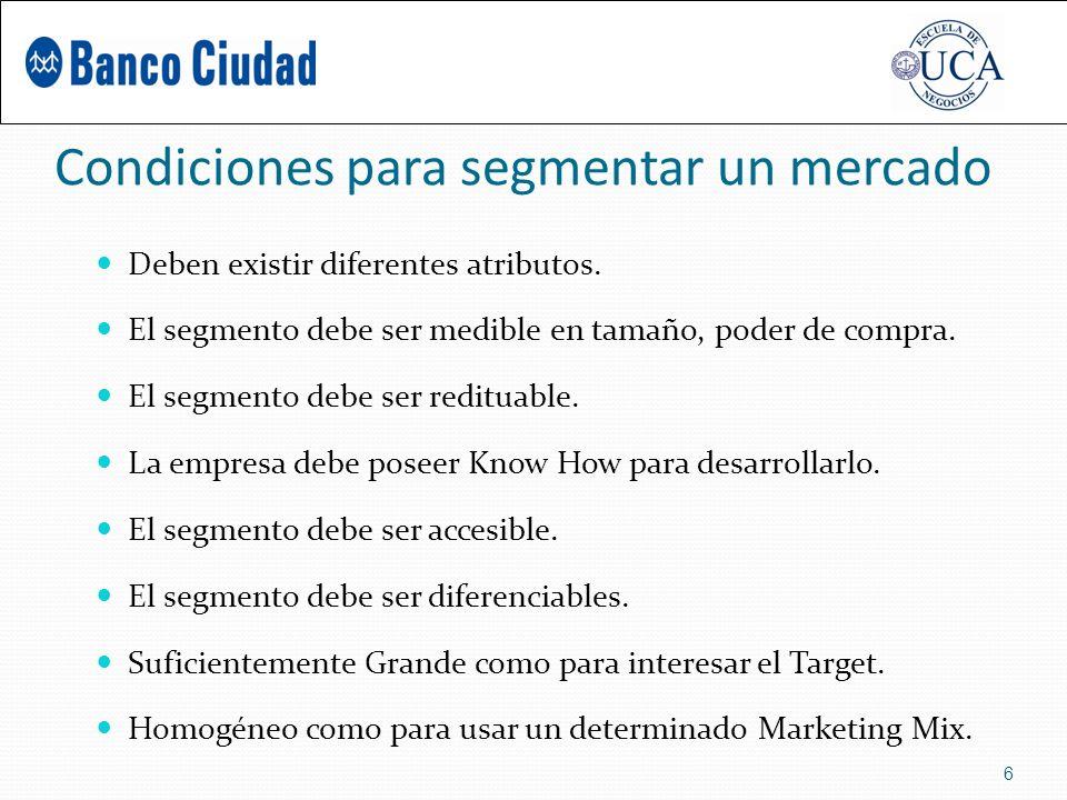 Condiciones para segmentar un mercado