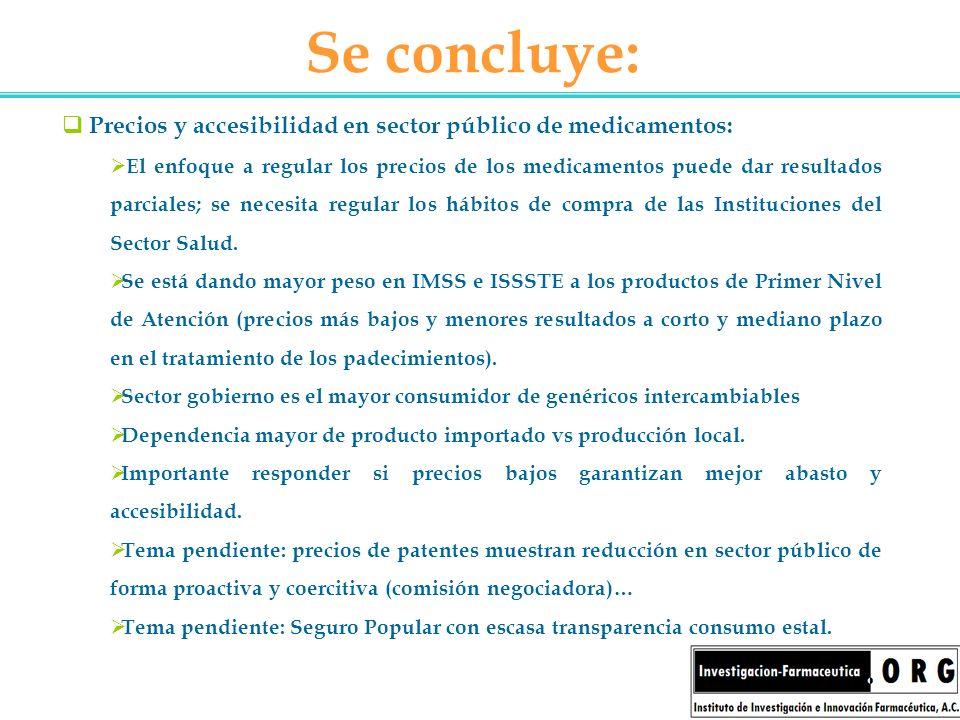 Se concluye: Precios y accesibilidad en sector público de medicamentos: