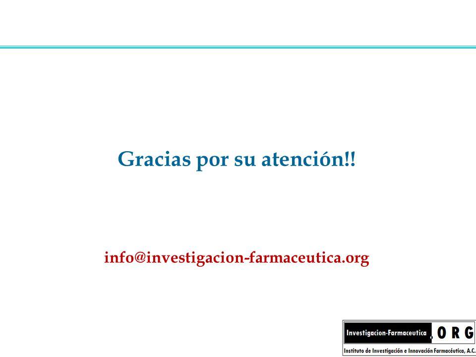 Gracias por su atención!! info@investigacion-farmaceutica.org