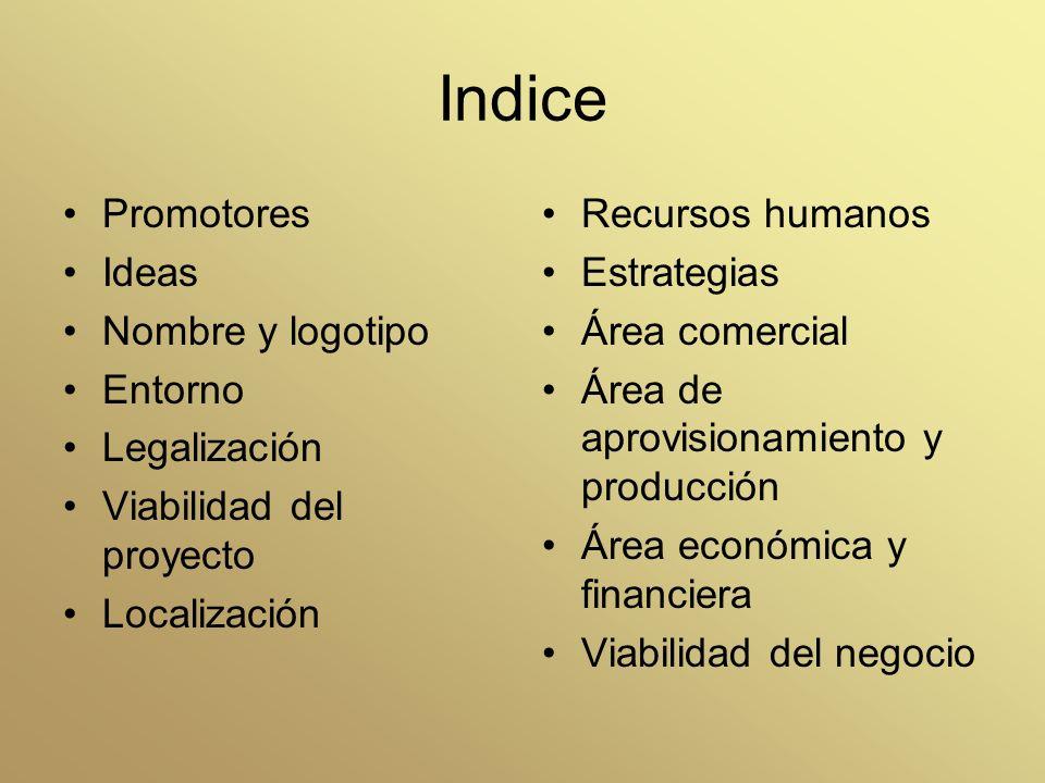 Indice Promotores Ideas Nombre y logotipo Entorno Legalización
