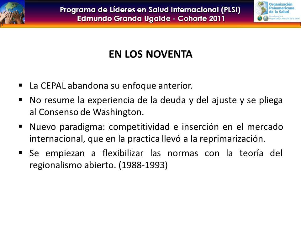 EN LOS NOVENTA La CEPAL abandona su enfoque anterior.