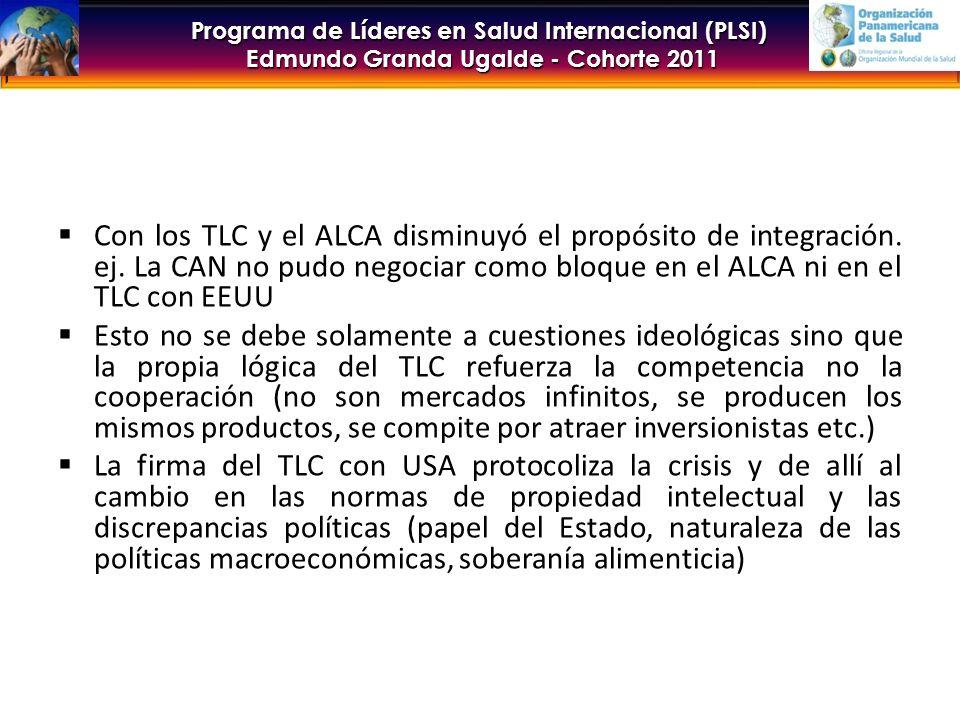 Con los TLC y el ALCA disminuyó el propósito de integración. ej