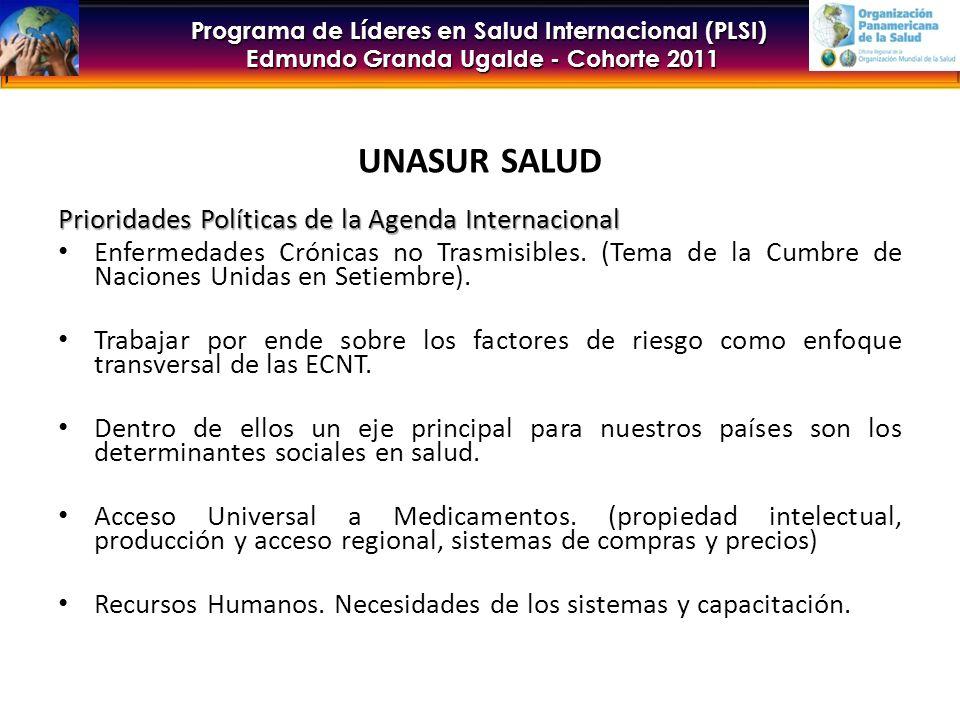 UNASUR SALUD Prioridades Políticas de la Agenda Internacional