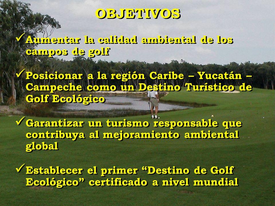 OBJETIVOS Aumentar la calidad ambiental de los campos de golf
