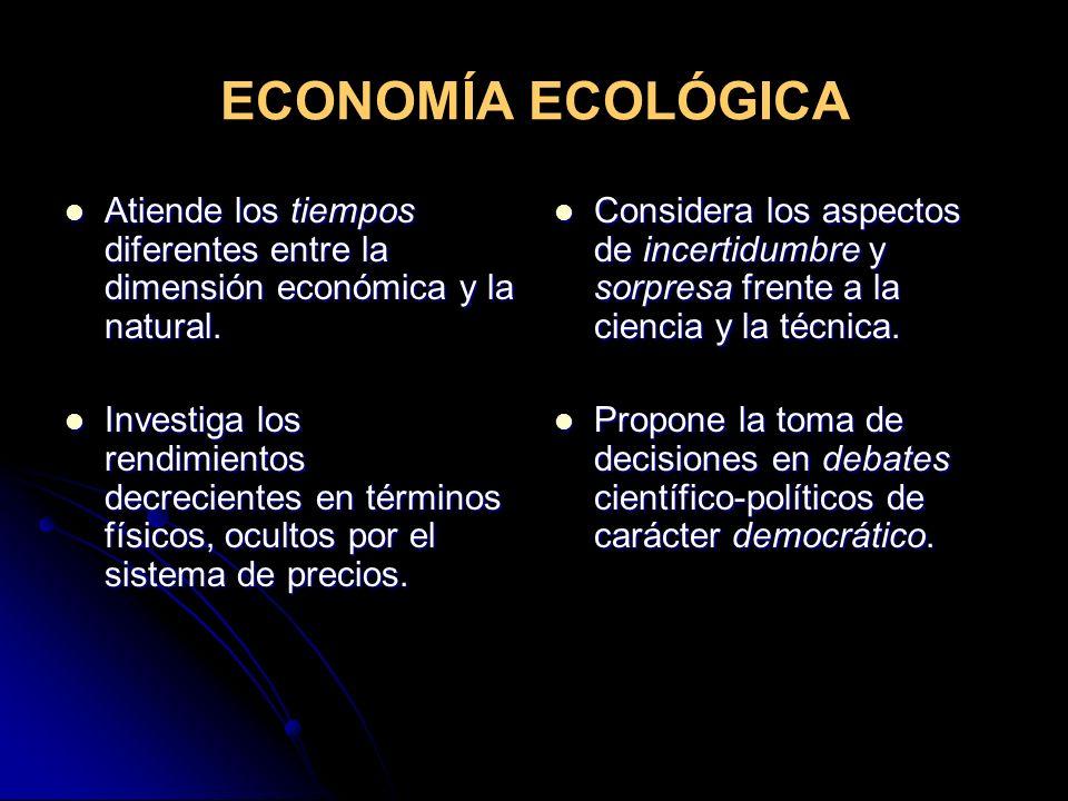 ECONOMÍA ECOLÓGICA Atiende los tiempos diferentes entre la dimensión económica y la natural.