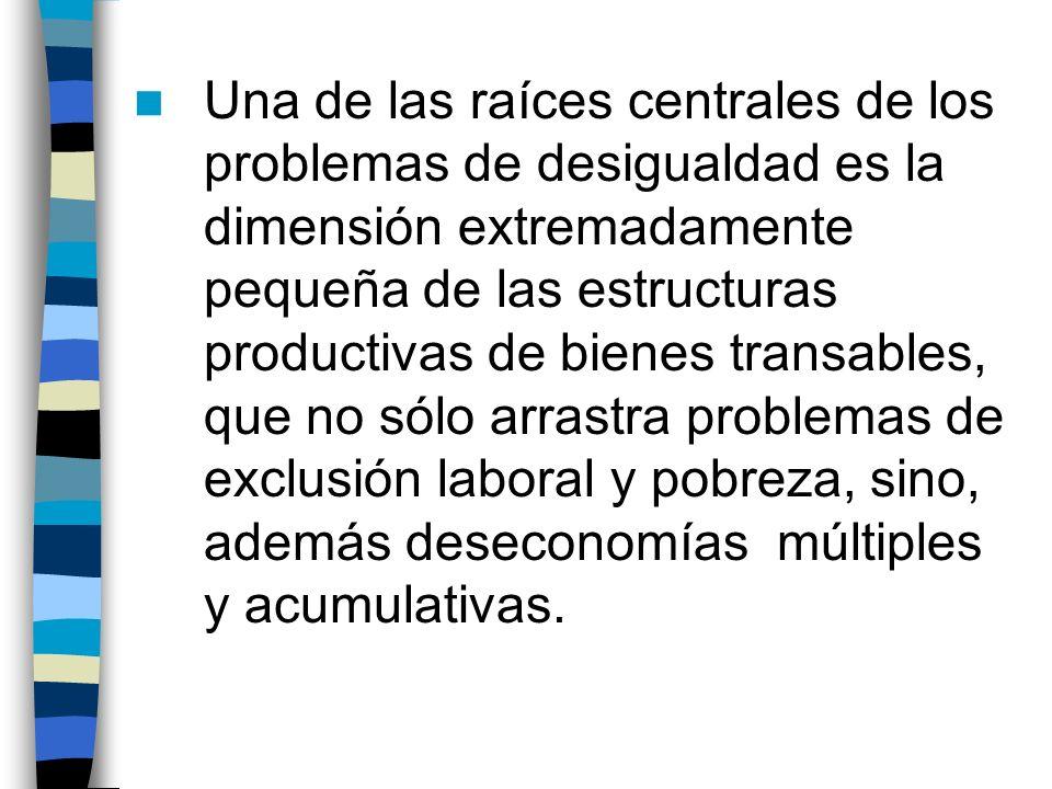 Una de las raíces centrales de los problemas de desigualdad es la dimensión extremadamente pequeña de las estructuras productivas de bienes transables, que no sólo arrastra problemas de exclusión laboral y pobreza, sino, además deseconomías múltiples y acumulativas.