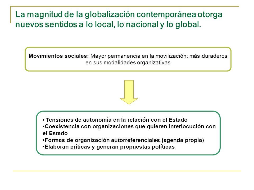La magnitud de la globalización contemporánea otorga nuevos sentidos a lo local, lo nacional y lo global.