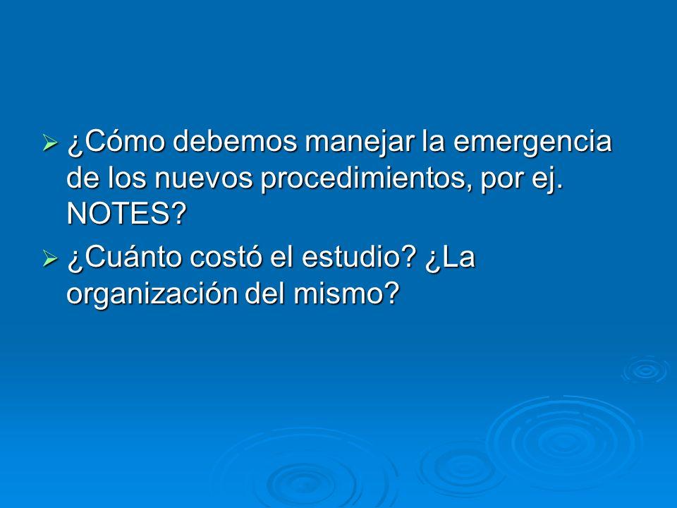 ¿Cómo debemos manejar la emergencia de los nuevos procedimientos, por ej. NOTES