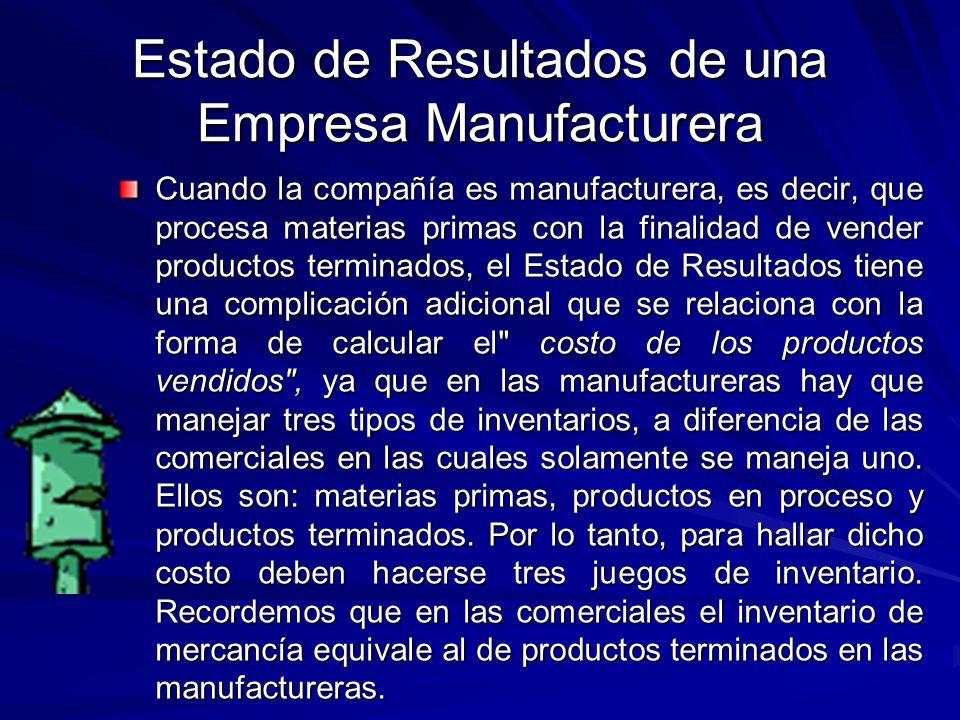 Estado de Resultados de una Empresa Manufacturera