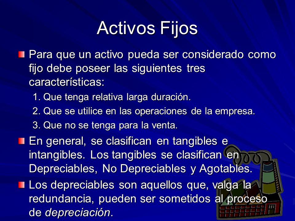 Activos Fijos Para que un activo pueda ser considerado como fijo debe poseer las siguientes tres características: