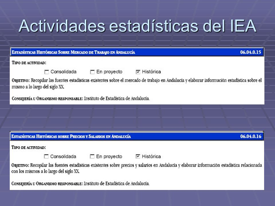 Actividades estadísticas del IEA
