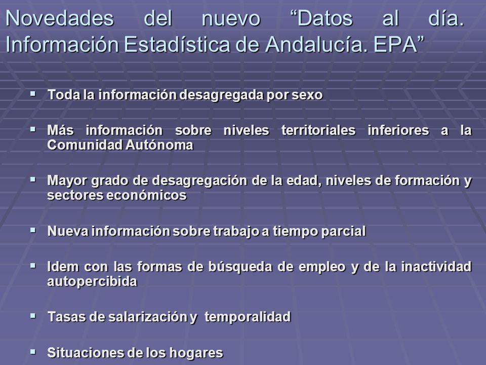 Novedades del nuevo Datos al día. Información Estadística de Andalucía. EPA