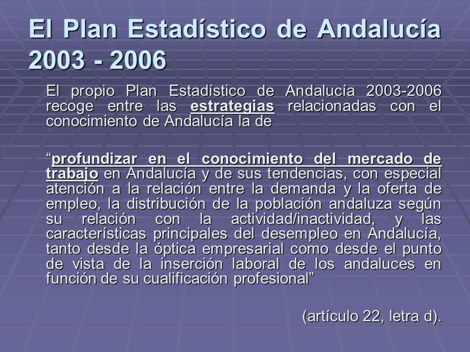 El Plan Estadístico de Andalucía 2003 - 2006