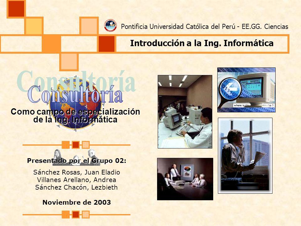 Como campo de especialización de la Ing. Informática