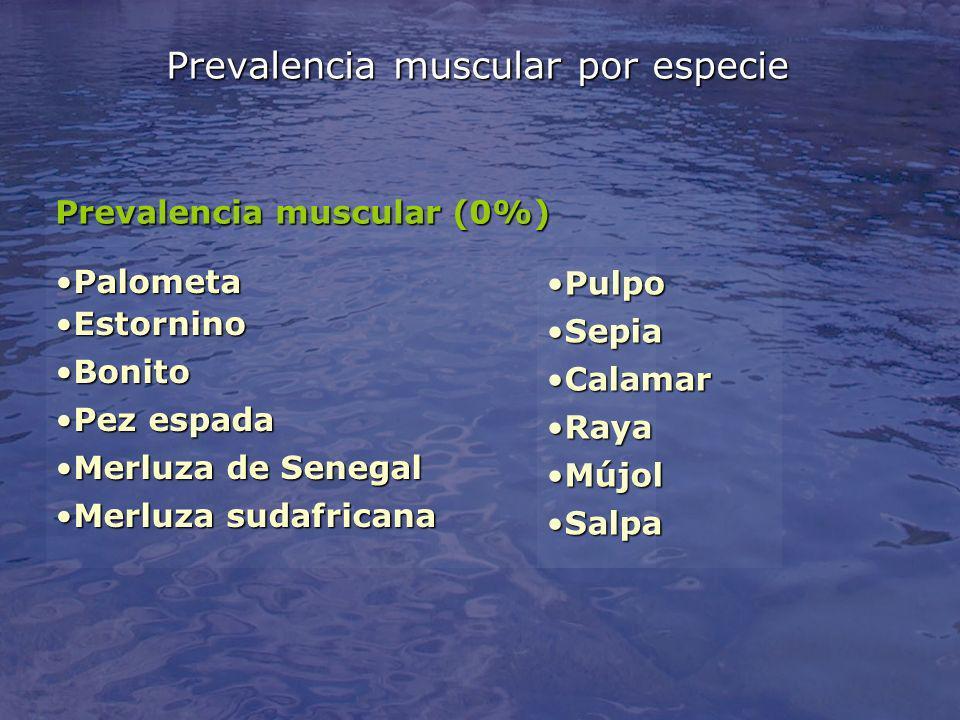 Prevalencia muscular por especie