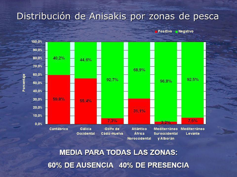 Distribución de Anisakis por zonas de pesca