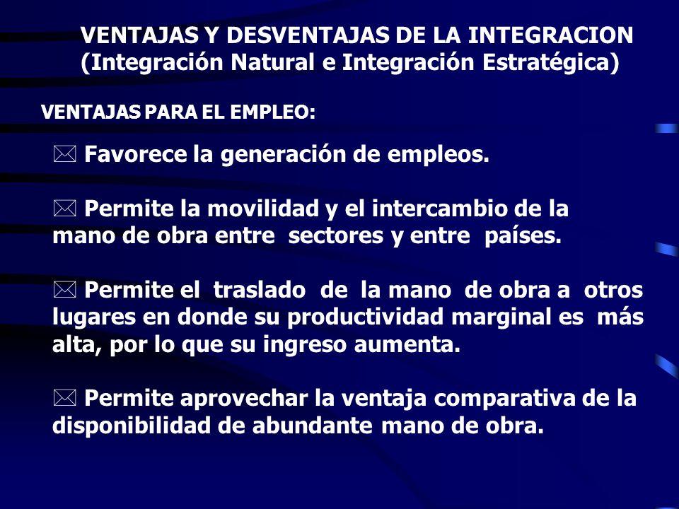 VENTAJAS Y DESVENTAJAS DE LA INTEGRACION