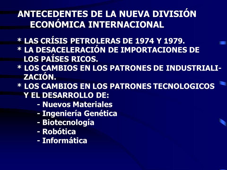 ANTECEDENTES DE LA NUEVA DIVISIÓN ECONÓMICA INTERNACIONAL