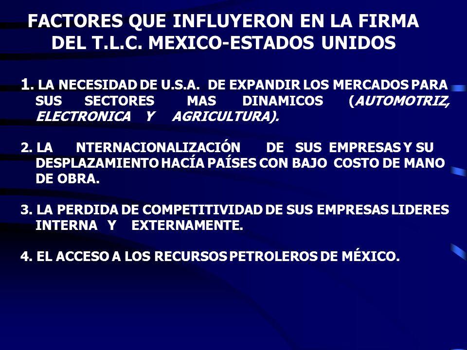 FACTORES QUE INFLUYERON EN LA FIRMA DEL T.L.C. MEXICO-ESTADOS UNIDOS
