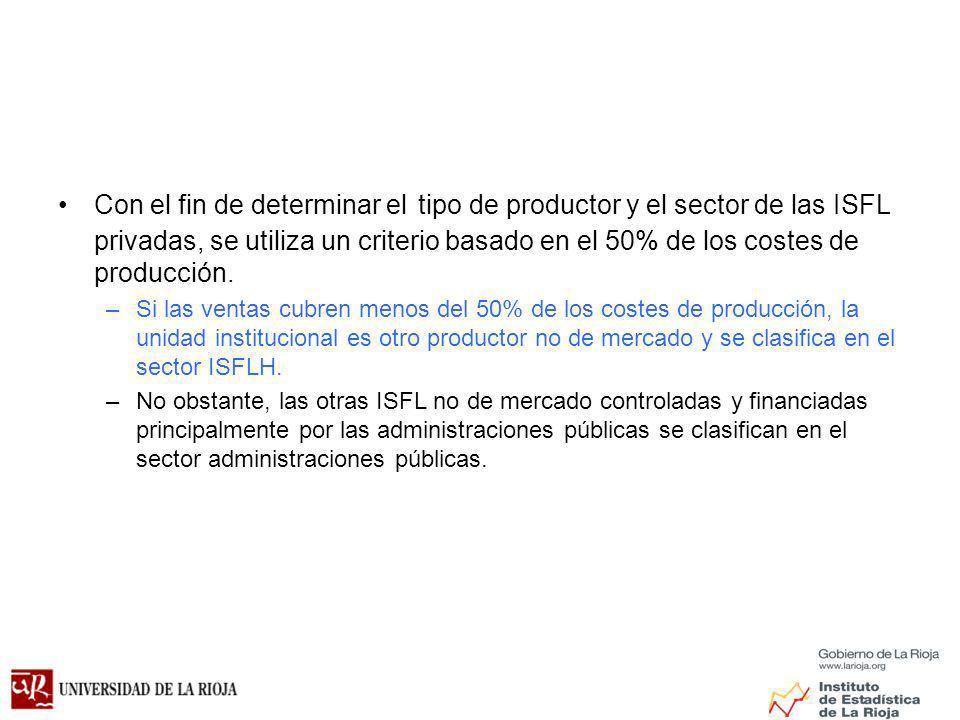 Con el fin de determinar el tipo de productor y el sector de las ISFL privadas, se utiliza un criterio basado en el 50% de los costes de producción.