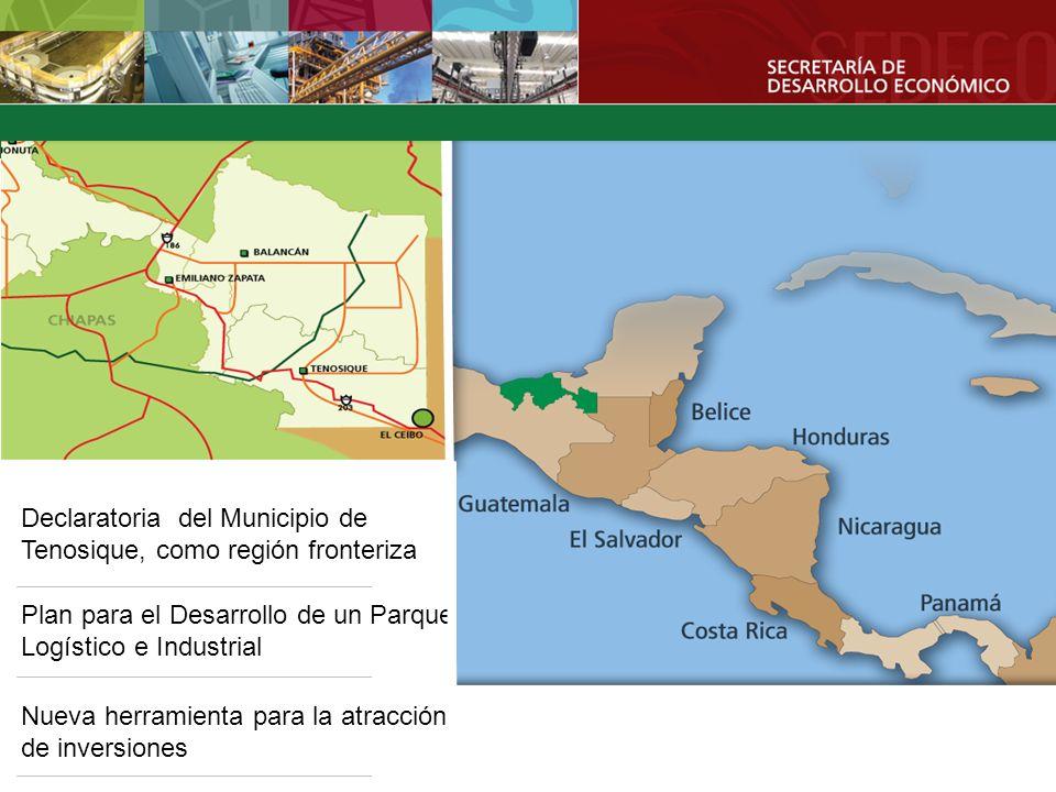 Declaratoria del Municipio de Tenosique, como región fronteriza