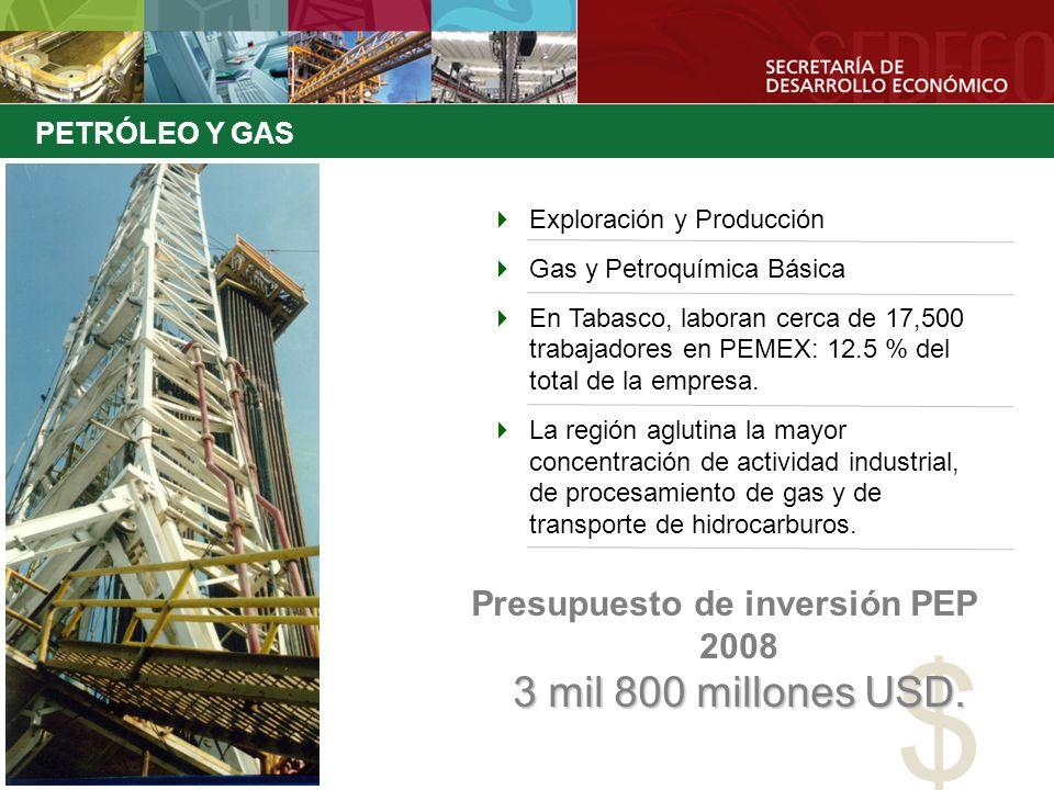 Presupuesto de inversión PEP 2008 3 mil 800 millones USD.