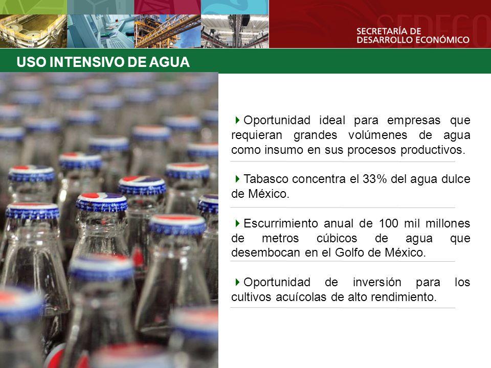 USO INTENSIVO DE AGUA Oportunidad ideal para empresas que requieran grandes volúmenes de agua como insumo en sus procesos productivos.
