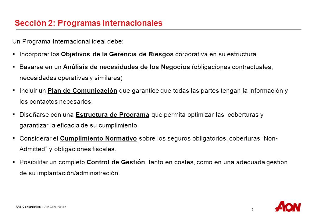 Sección 2: Estructura Programas Internacionales