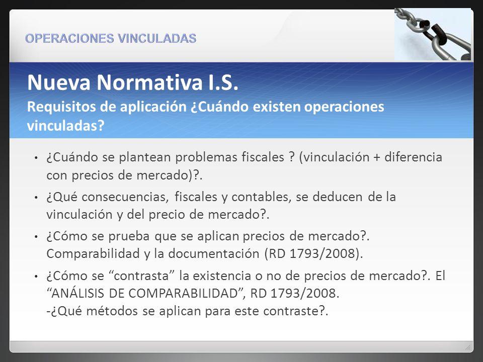 Nueva Normativa I.S. Requisitos de aplicación ¿Cuándo existen operaciones vinculadas
