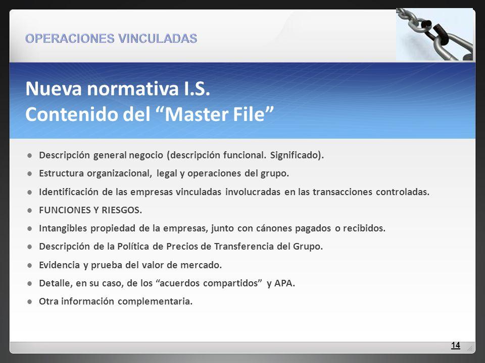 Nueva normativa I.S. Contenido del Master File