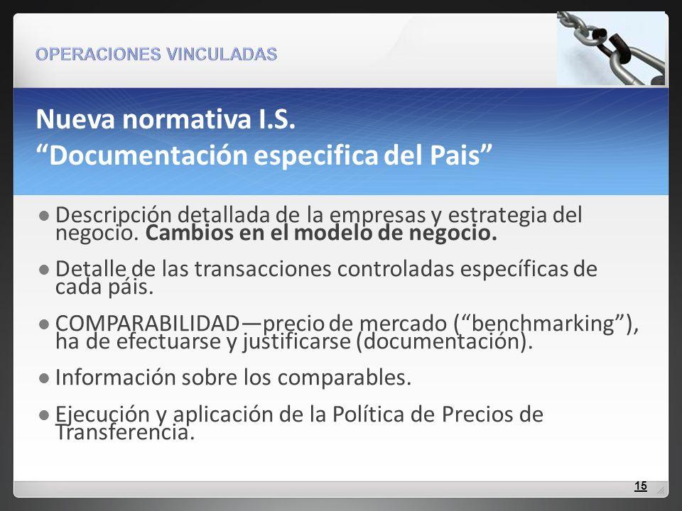Nueva normativa I.S. Documentación especifica del Pais