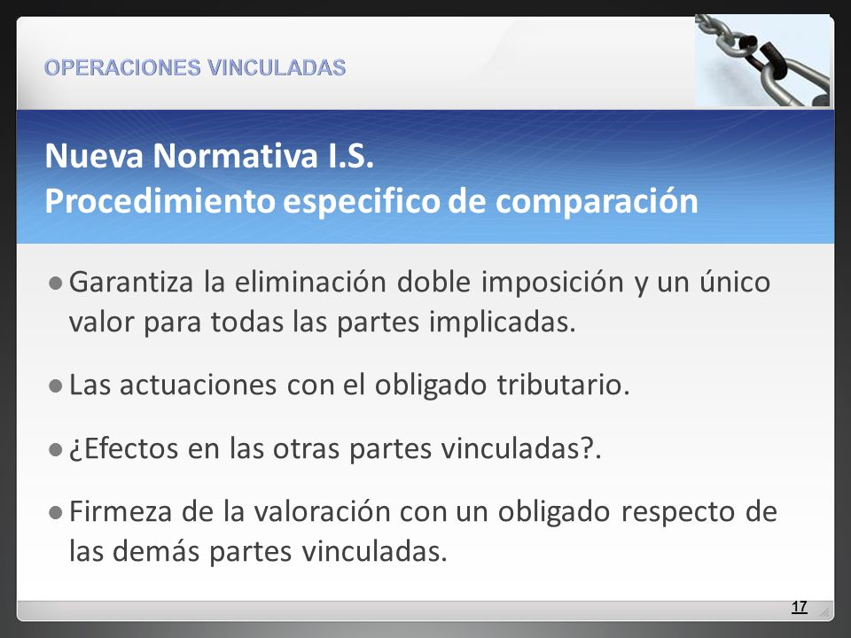 Nueva Normativa I.S. Procedimiento especifico de comparación